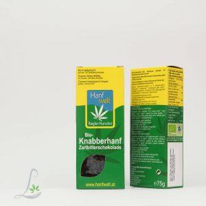 Bio Knabberhanf Zahnbitterschokolade Hanfwelt75 g